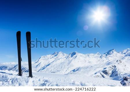 Ski, winter season , mountains and ski equipments. Winter vacation - stock photo