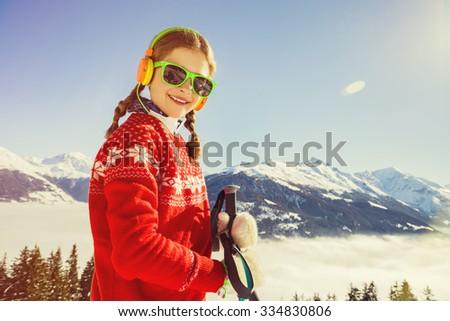 Ski, winter vacation, snow, skier - girl enjoying winter, filtered - stock photo