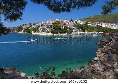 Skiathos island in Greece. View of Plakes area. - stock photo