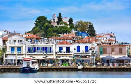 Skiathos town on the Skyathos island, Greece. Important tourist destination - stock photo