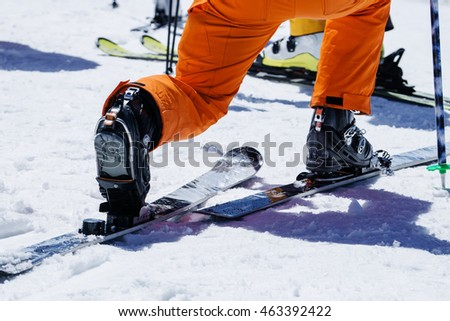 Skier adjust and prepare snowshoes and equipment on snow before skiing