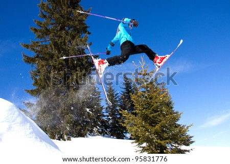 skier in a very high jump - stock photo