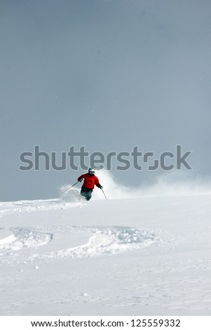 Skier in powder snow with copy space, Utah, USA.