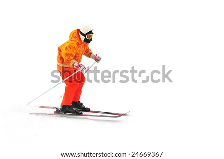 skier on on the mountain side isolated - stock photo
