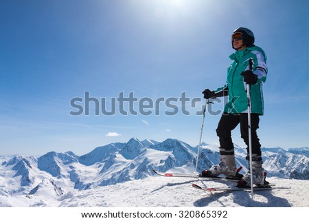 skier on snow hill, Solden, Austria