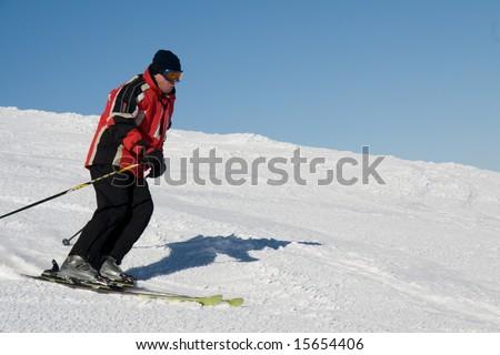 Skier on the slope of mountain Stig in ukrainian Carpathian - stock photo