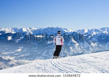 Skier on the slope ski resort  Zell am See, Austrian  - stock photo