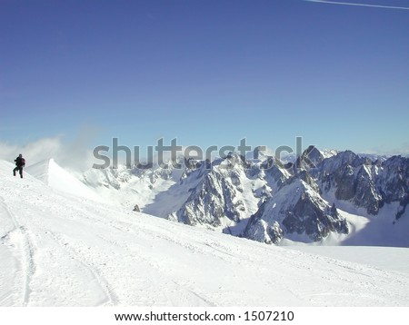 Skier on the Vallee Blanche - stock photo