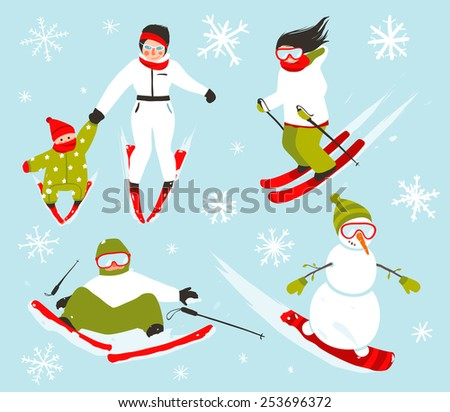 Skier Snowboarder Snowflakes Winter Sport Set. Snowboarding and skiing winter season fun sport illustration. Raster variant. - stock photo