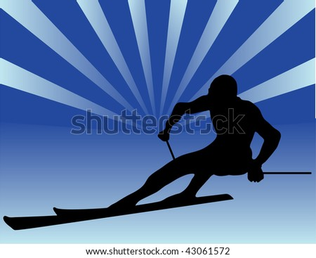 skier vector silhouettes - stock photo