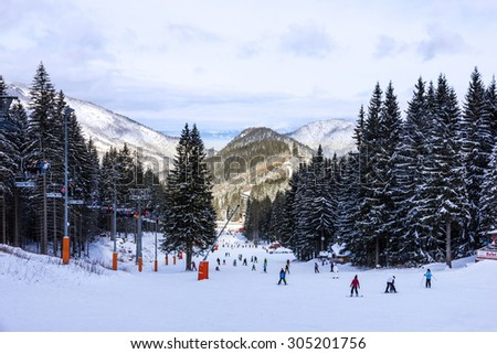 Skiers in winter resort Jasna, Slovakia