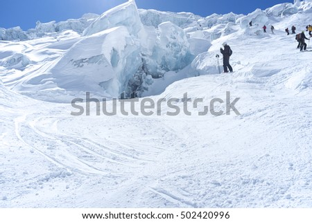 Skiers on the Glacier du Geant in the Vallee Blanche, Chamonix.