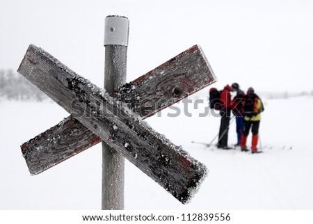 Skiers, Sweden. - stock photo