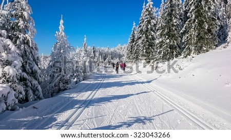 skiing in mountains in winter - stock photo