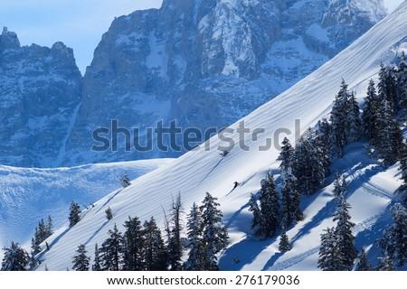 Skiing In Wyoming - stock photo