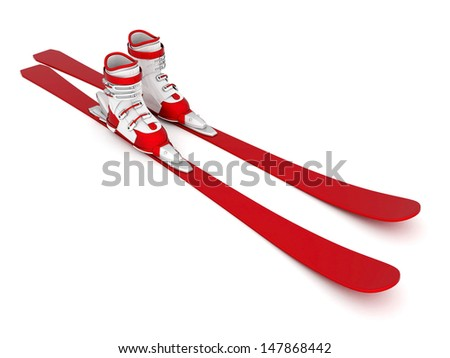 skiing isolated on a white background - stock photo