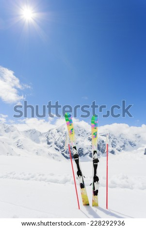 Skiing , mountains and ski equipments - ski vacation - stock photo