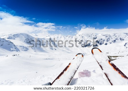 Skiing , mountains and ski slopes - stock photo