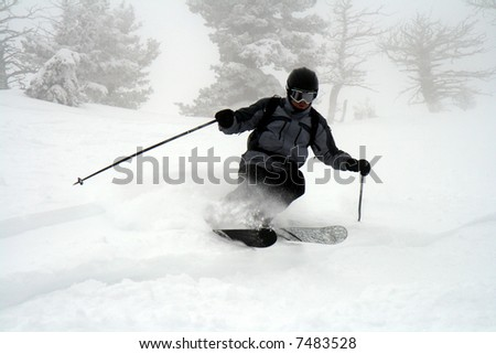 Skiing powder on a snowy day - stock photo