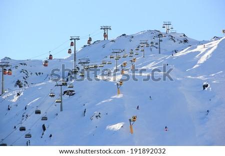 Skiing Resort Kitzsteinhorn. Kaprun, The Alps, Austria. - stock photo