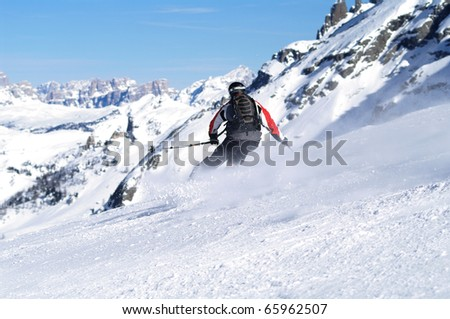 Skiing scene in italy