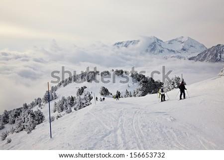 Skiing slope - stock photo
