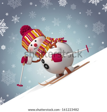 skiing snowman winter outdoor activity, Christmas greeting