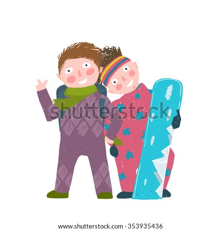 Skiing Sport Child Girl and Boy in Winter Clothes with Snowboard Cartoon. Happy sporty kids couple snowboarding. Colorful kid hand drawn sketchy feel illustration. Raster variant. - stock photo