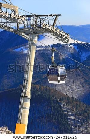 Skilift on winter resort Donovaly in Slovakia - stock photo