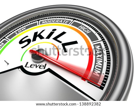 skill level conceptual meter indicate maximum, isolated on white background - stock photo