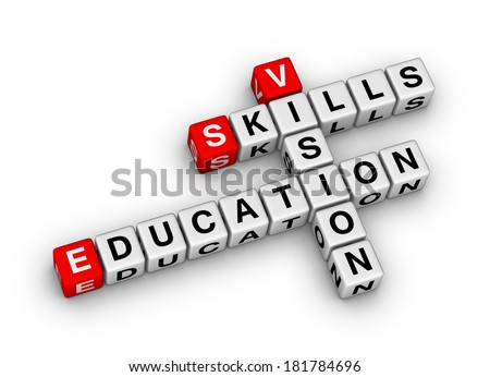 skill vision education (red-white crossword series) - stock photo
