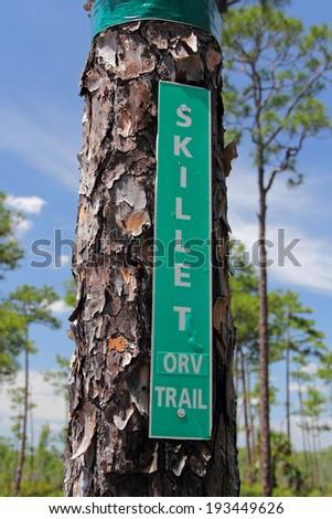 Skillet Strand North Sign, Big Cypress National Preserve, Florida Everglades - stock photo