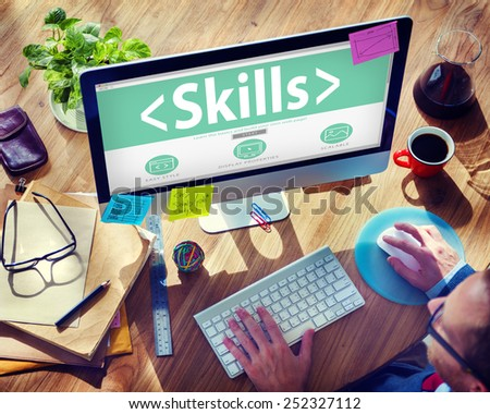 Skills Ability Aptitude Personal Efficacy Concepts - stock photo