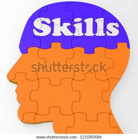 Skills Brain Showing Abilities Competence And Training - stock photo