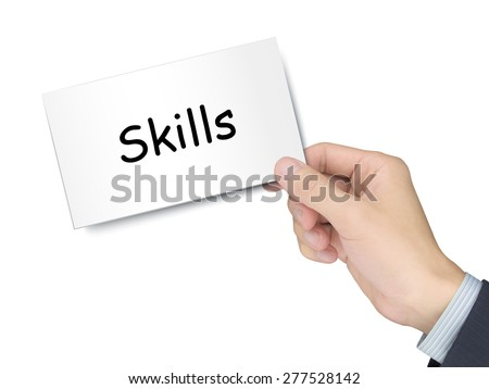 skills card in hand isolated over white background