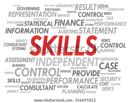 SKILLS word cloud, business concept - stock photo