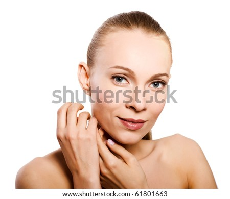 Skin and beauty care - young beautiful female isolated - stock photo