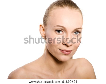 Skin and beauty care - young beautiful female isolated