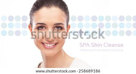Skin care and face cleansing banner with smiling woman on dotted background - stock photo