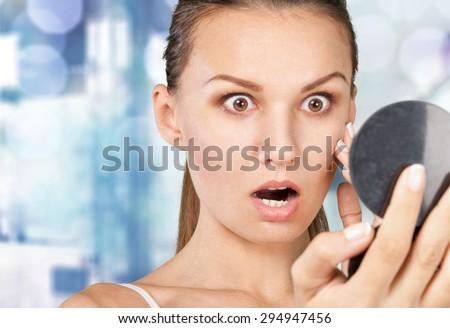 Skin, spot, face. - stock photo