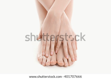 Skincare, barefoot. Woman with beautiful body - stock photo