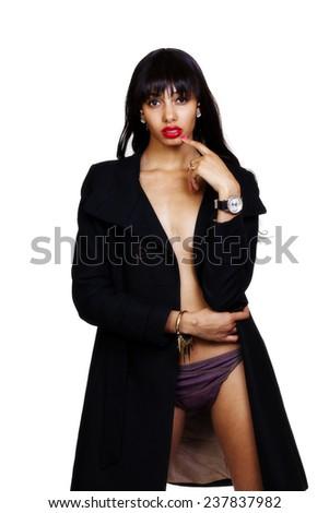 Skinny African American Woman Open Jacket Panties - stock photo