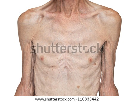 Skinny male torso. Isolated on white background - stock photo