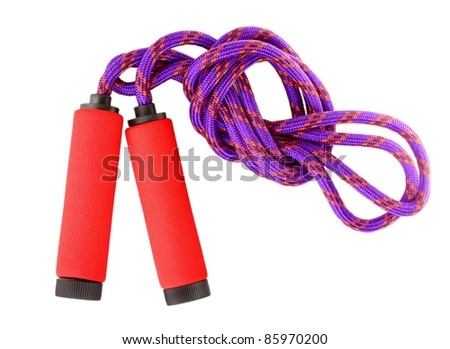 skipping rope isolated on white - stock photo