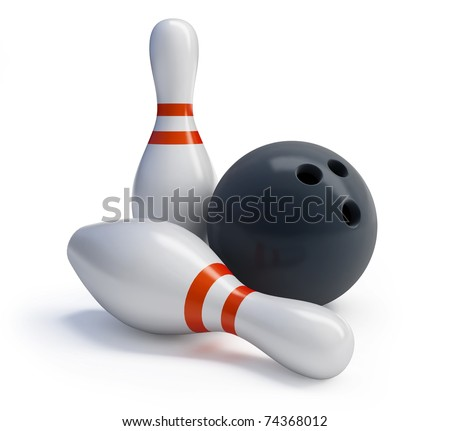 Skittles and bowling ball on a white background