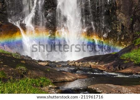 Skjervsfossen waterfall near Granvin, Norway - stock photo