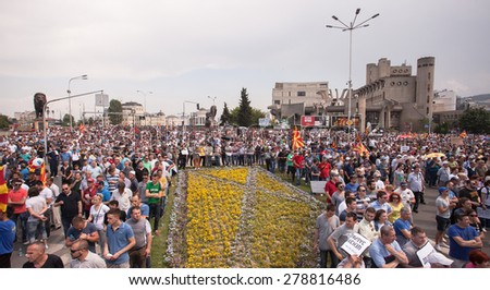 SKOPJE, MACEDONIA - MAY 17 2015: Massive multietnical protests against the government, after the opposition publicized conversations of people close to the ruling party involved in criminal activities - stock photo
