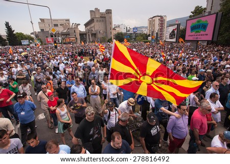 SKOPJE, MACEDONIA - MAY 17 2015: Massive multietnical protests against the government, after the opposition publicized conversations of people close to the ruling party involved in criminal activities
