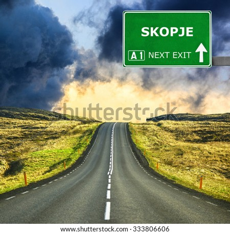 SKOPJE road sign against clear blue sky