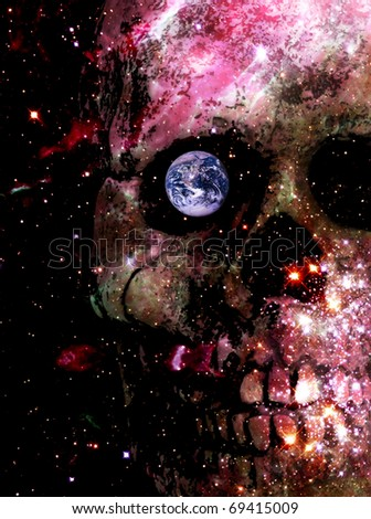 skull among a galaxy of stars with the earth in its eye socket - source space images from NASA/courtesy of NASAimages.org - stock photo